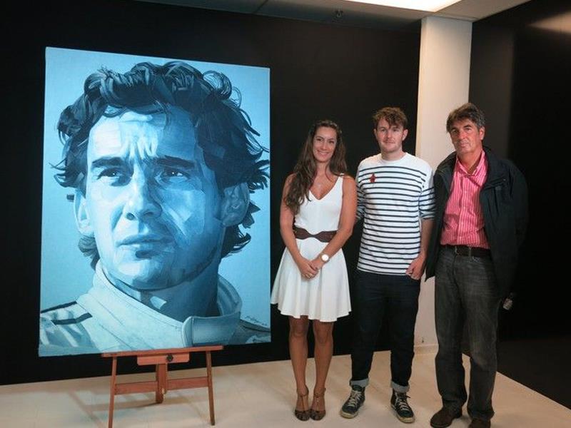 Retrato de Ayrton Senna creado con jeans