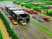 Diseñan bus que circula por encima de los carros