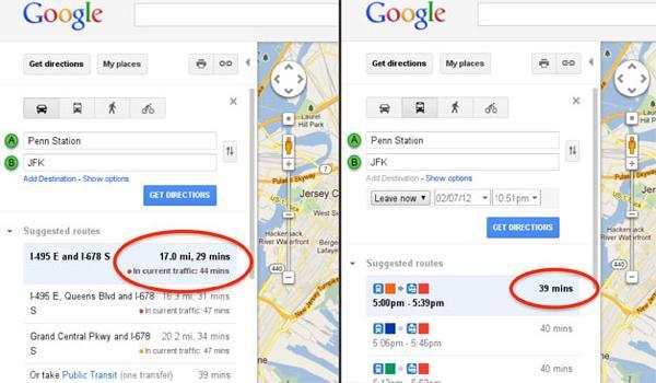 Google Maps mejora sus rutas con información de tránsito en EUA