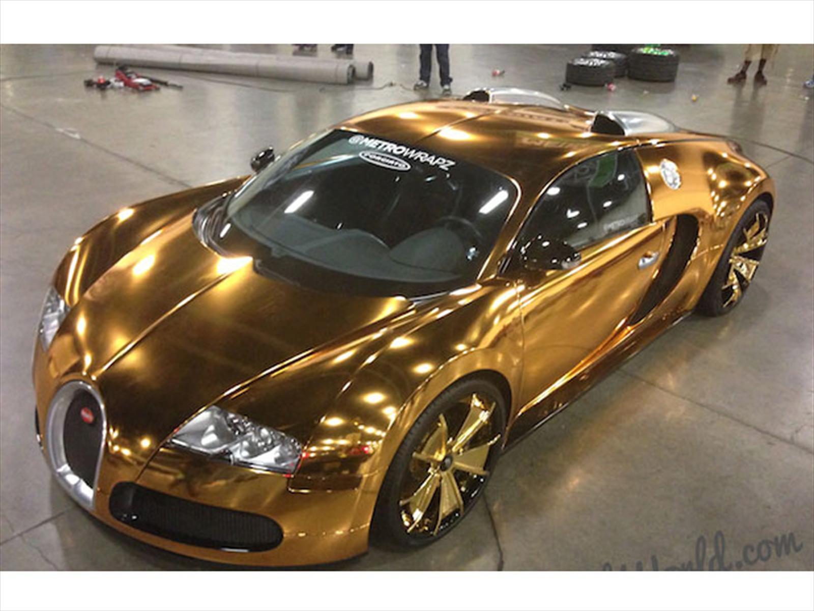 Mustang Dorado >> Rapero Flo Rida viste de oro su Bugatti Veyron - Autocosmos.com