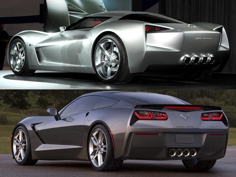 Concept vs. Corvette C7: ¾ Trasero