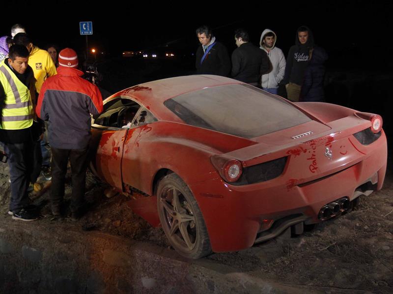 Así quedó la Ferrari 458 Italia de Arturo Vidal