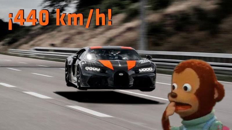 Aceleró a fondo un Bugatti Chiron Super Sport y salió disparado a 440 km/h