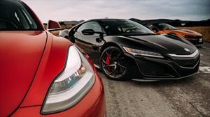 Acura NSX vs BMW i8 Roadster vs Tesla Model 3