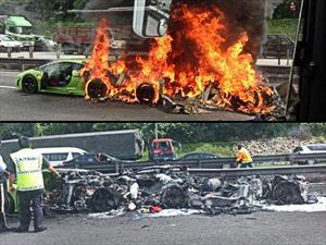 Video: Tres tristes Lamborghinis se incendian en Singapur