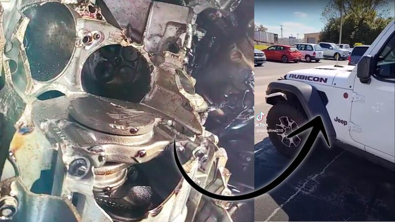 Video: remolcan Jeep Wrangler con el bajo puesto y revientan su motor