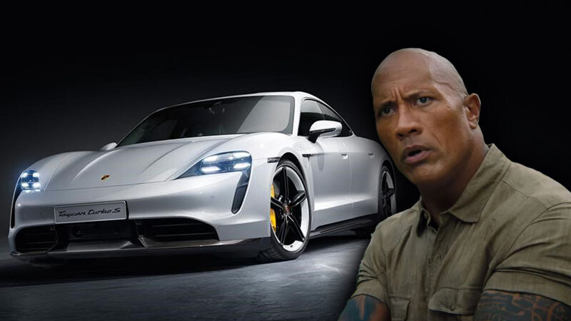 No alcanzó a ser noticia: La Roca no cabe en un Porsche Taycan