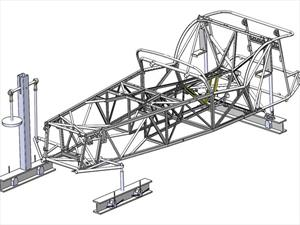 Chasis de auto hecho con tecnología de bicicletas