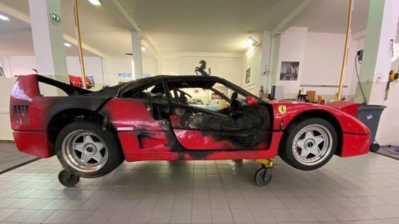 ¿Se acuerdan del Ferrari F40 quemado en Mónaco? es momento de restaurarlo