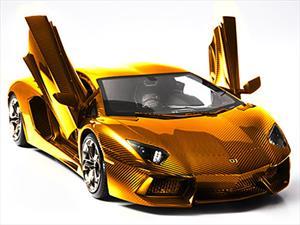 Lamborghini Aventador a escala de oro puro