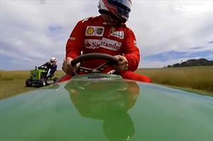 Video: Kimi Raikkonen prueba suerte en una podadora