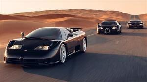 Bugatti EB110, Veyron y Chiron, la santa trinidad al fin se junta