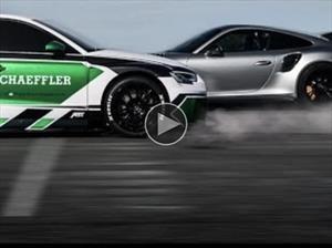 De reversa: Curiosa pelea entre Audi RS3 eléctrico y Porsche 911 GT2 RS