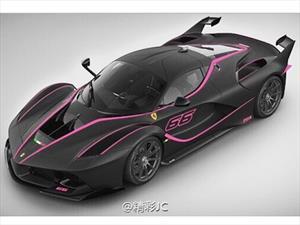 Una Ferrari FXX K de negro y rosa