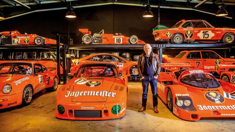 La historia de la colección de autos Porsche con la imagen de Jägermeister