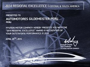 Automotores Gildemeister es premiada por Hyundai Motor Company