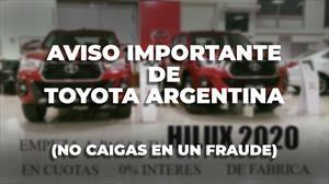 Toyota Argentina emite un aviso para evitar fraudes