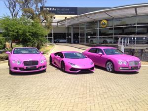 Pintan de rosa un Lamborghini y dos Bentley por una buena causa