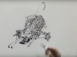 Video: Increíble artista coreano dibuja motores a mano alzada
