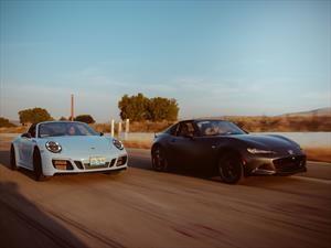 Comparativo Mazda MX-5 RF vs Porsche 911 Targa 4 GTS: dos formas de volarte la peluca