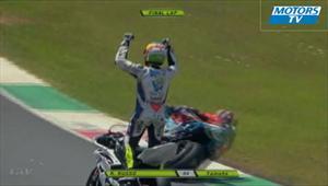 Motociclista Ricardo Russo celebra antes de tiempo
