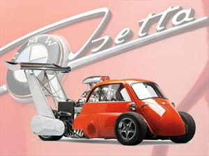 BMW Isetta V8 Dragster a toda velocidad