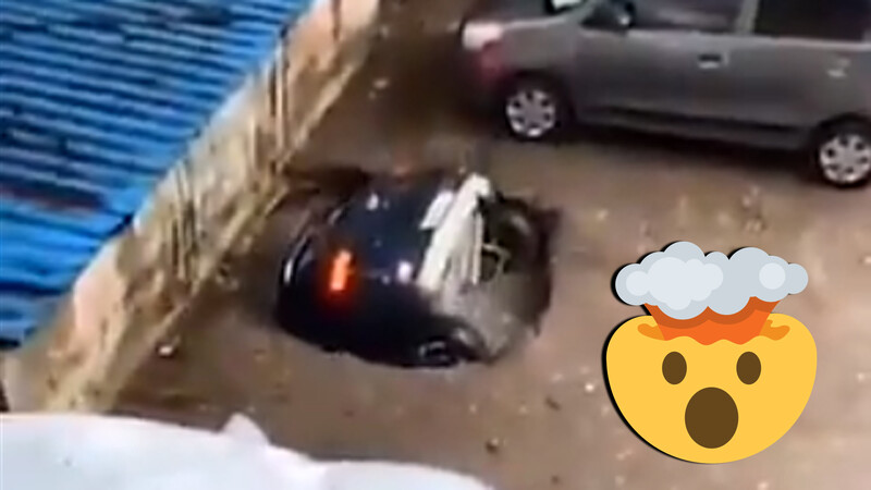 Video insólito: la tierra se traga un SUV