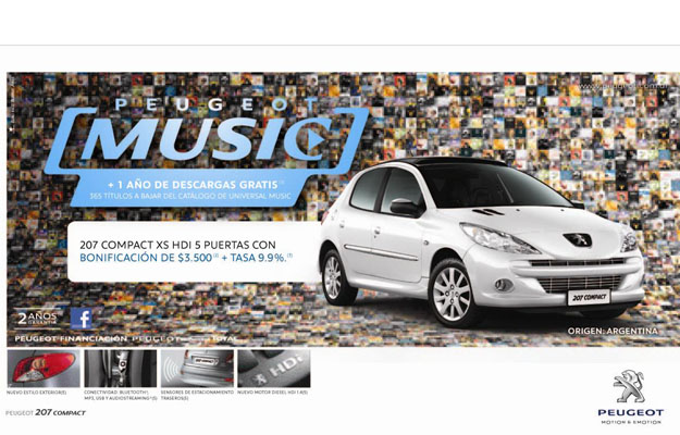 Peugeot 207 Compact con descarga de música gratis.