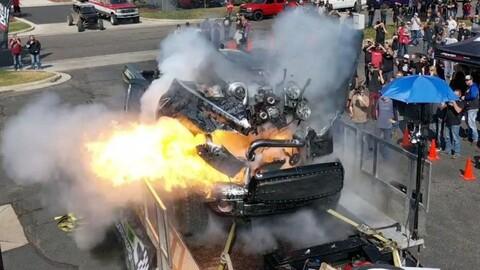 Quisieron que el motor de una pick-up llegue a los 3.000 CV y explotó