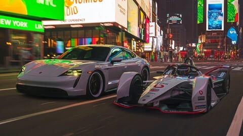 Porsche 99X Electric de la Fórmula E y el Taycan ruedan en las calles de Nueva York