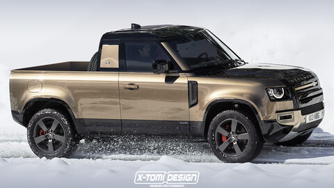 Así se vería una nueva versión pick up del Land Rover Defender