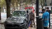 Bebe Contepomi se dá un golpe muy duro con su Ford Mustang
