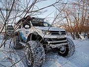 Tres Volkswagen Amarok pisan muy fuerte en las olimpiadas de invierno