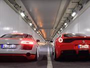 Audi R8 y Ferrari 458 Speciale juntos en un túnel