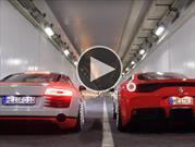 Así rugen un Audi R8 y una Ferrari 458 Speciale en un túnel