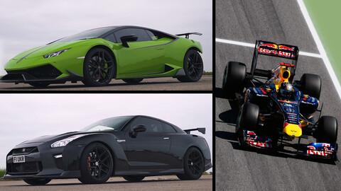 Un par de súper deportivos tuneados vs un Fórmula 1 ¿Qué pasará?