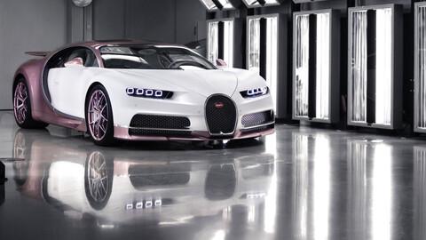 Un Bugatti Chiron con detalles color rosa, fue el detalle de un enamorado esposo