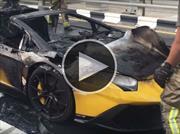 Un Lamborghini Aventador se incendia en Dubai