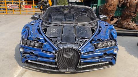 Réplicas del Bugatti Chiron y otros super autos son fabricadas con chatarra