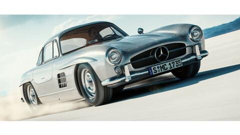 La animación digital permite ver un Mercedes 300 SL Gullwing volando