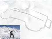 Land Rover plasma una silueta gigante del Defender en los Alpes franceses