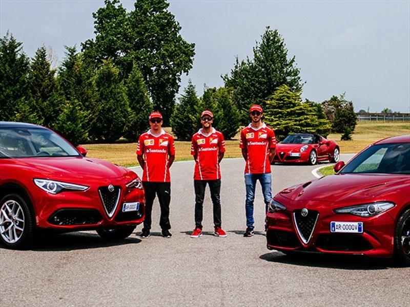 Vettel, Räikkönen y Giovinazzi se divierten en un Alfa Romeo Giulia Quadrifoglio