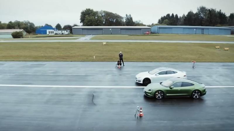 Video: Porsche Taycan humilla a un Tesla Model S en Alemania